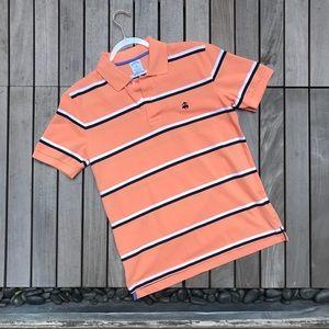 BROOKS BROTHER Orange Black White Striped Polo Tee